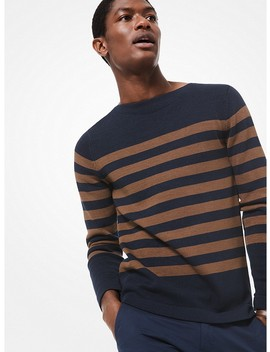 Striped Cotton Sweater by Michael Kors Mens
