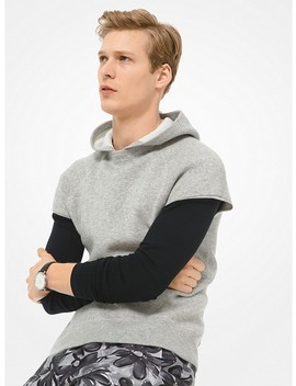 Cashmere And Cotton Blend Sleeveless Hoodie by Michael Kors Mens