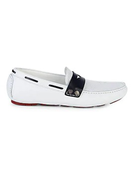 Perforated Leather Driver Loafers by Cavalli Class