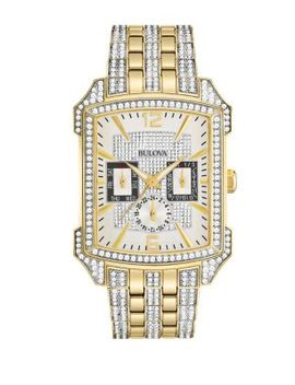 Crystals Stainless Steel Two Tone Bracelet Watch by Bulova