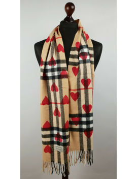 Burberry Lightweight Cashmere Hearts Red Printed by Burberry