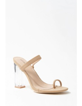 Faux Leather Lucite Heels by Forever 21