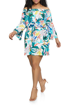 Plus Size Leaf Print Off The Shoulder Romper by Rainbow