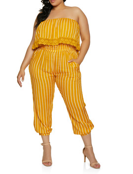 Plus Size Crochet Detail Striped Jumpsuit by Rainbow