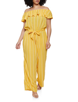 Plus Size Off The Shoulder Striped Jumpsuit | 0392051061245 by Rainbow