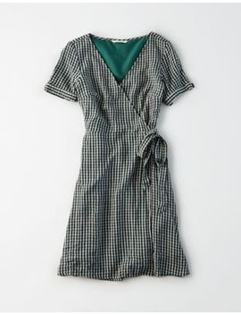 Ae Plaid Tie Sleeve Wrap Dress by American Eagle Outfitters