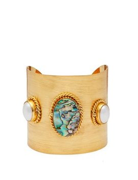 Sea Opal And Pearl Embellished Cuff by Sylvia Toledano