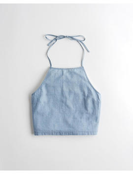 High Neck Halter Crop Top by Hollister