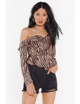 Satin Tiger Ruffle One Shoulder Blouse by Nasty Gal