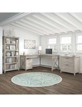 The Gray Barn Hickory Place Desk With Cabinets And Bookcase In Washed Grey by The Gray Barn