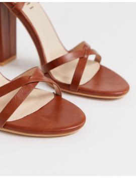 Simmi London Heidi Tan Ankle Tie Block Heeled Sandals by Simmi