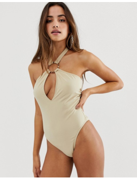 Pretty Little Thing Ring Detail Halter Neck Swimsuit In Nude by Pretty Little Thing
