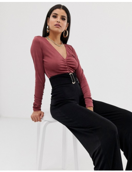 Asos Design Tall Ruched Top In Slinky Fabric by Asos Design