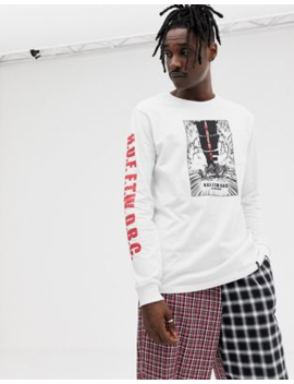 Huf Long Sleeve T Shirt With Kaboom Print In White by Huf
