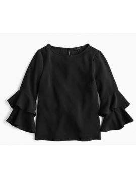 J. Crew H2197 Tiered Bell Sleeve Top In Drapey Crepe Polished Top Black 2 by J.Crew