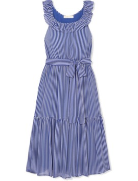 Striped Tiered Crepe Midi Dress by Michael Michael Kors