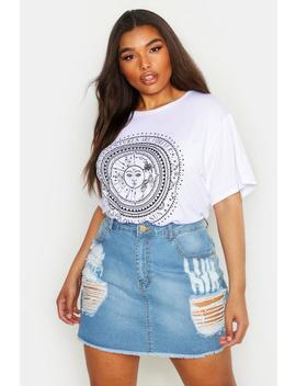 Plus Sun Print Short Sleeve T Shirt by Boohoo