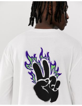 Globe Alight Long Sleeve T Shirt With Chest And Back Print In White by Globe