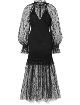 After Dark Shirred Corded Lace Midi Dress by Alice Mc Call