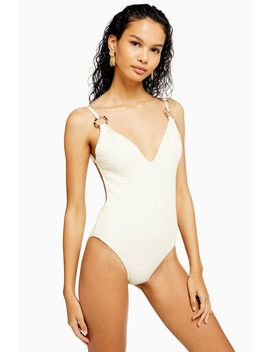 Ivory Shirred Ring Swimsuit by Topshop