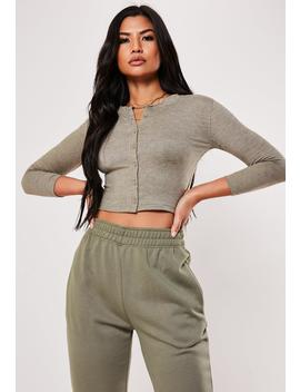Green Button Front Long Sleeve Crop Top by Missguided