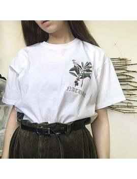 Daphne Flower Print T Shirt, White Botanical Tee, Nature Tshirt by Etsy