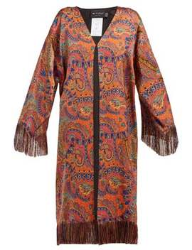Fringed Paisley Print Crepe Coat by Etro