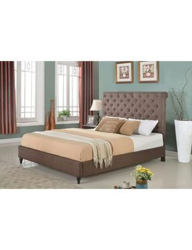 "Home Life Cloth Brown Linen 51"" Tall Headboard Platform Bed With Slats King   Complete Bed 5 Year Warranty Included 008 by Life Home"