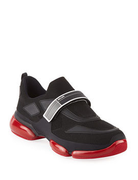Prada Mens Cloudbust Knit Sport Sneakers With Single Grip Strap by Prada