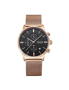 Clearance On Sale   Mens Rose Gold Mesh Stainless Steel Chronograph Calender Quartz Watches by Baogela