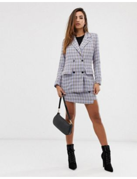 Missguided Blazer &Amp; Skirt In Blue Check Co Ord by Asos