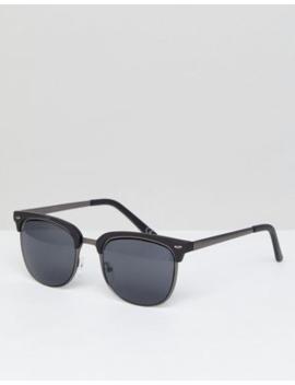 Asos Design Retro Sunglasses In Gunmetal &Amp; Matte Black by Asos