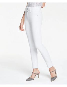 Petite High Rise Performance Denim Skinny Jeans In White by Ann Taylor
