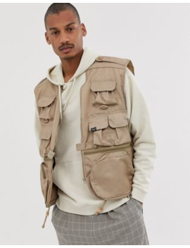 Vintage Supply Utility Vest In Stone by Gilet