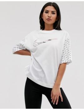 Nike – France – Vit T Shirt Med Swoosh Logga Och Roséguldfärgade Detaljer by Nike