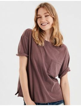 Ae Washed Crew Neck Pocket T Shirt by American Eagle Outfitters