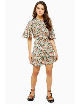 Petite Austin Floral Daisy Print Angel Sleeve Mini Dress by Topshop