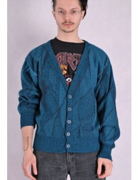 Vintage 90s Knit Men's Teal Abstract Grunge Cardigan by Moo Ha
