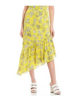 Marina Asymmetrical Ruffle Hem Floral Print Midi Skirt by Gianni Bini