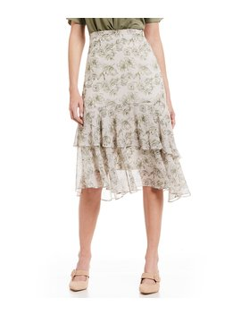 Lily Floral Print Ruffle Hem A Line Midi Skirt by Gianni Bini