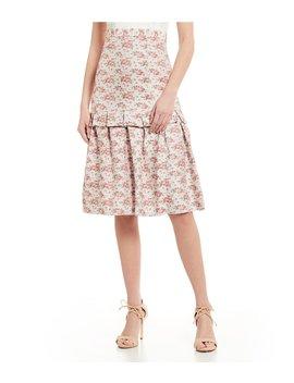 Jillian Floral Print Gathered Tiered Midi Skirt by Antonio Melani
