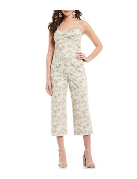 Vera Floral Print Sweetheart Neck Spaghetti Strap Wide Leg Cropped Jumpsuit by Gianni Bini