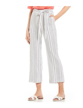 Taren Striped Crop Tie Waist Linen Pant by Antonio Melani