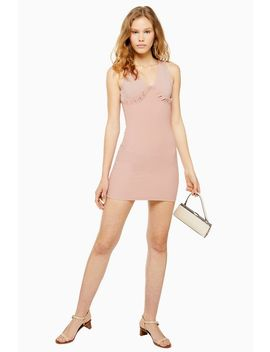 Frill Ribbed Bodycon Dress by Topshop