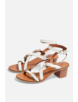 Virgo White Buckle Sandals by Topshop