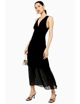 Black Pleat Tiered Midaxi Dress by Topshop