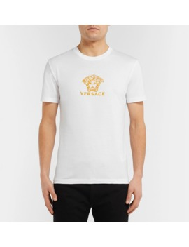 Slim Fit Logo Embroidered Cotton Jersey T Shirt by Versace