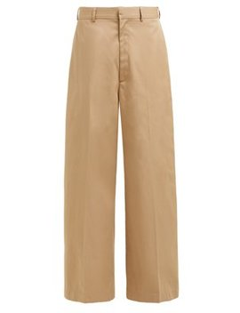 Wide Leg Cotton Chino Trousers by Raey