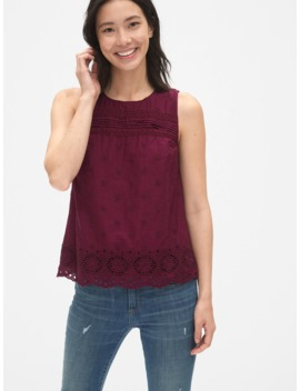 Eyelet Embroidered Tank Top by Gap
