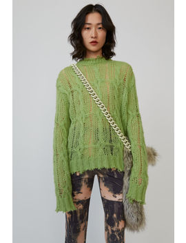 Frayed Cable Knit Sweater Lime Green by Acne Studios